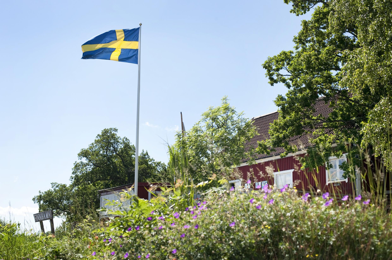 Zweden huis met vlag